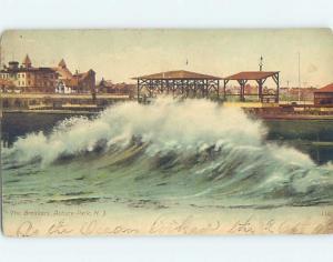 Pre-1907 LARGE WAVES CRASH ON BOARDWALK Asbury Park New Jersey NJ A0870