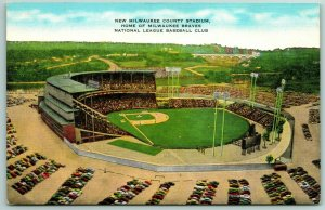 Milwaukee WI County Stadium~Home of the MLB Brewers (Razed 2001) c1954 Linen PC
