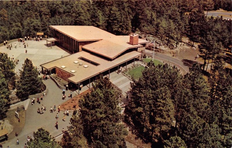 BLACK HILLS SD~MOUNT RUSHMORE NAT'L MEMORIAL VISITOR CENTER~AERIAL VIEW POSTCARD