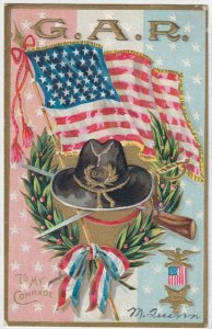 To My Comrade G. A. R. American Flag, Olive Leaf Headdress, 1900-10s
