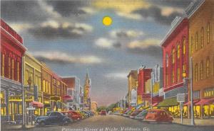 Georgia Ga Postcard Linen VALDOSTA Patterson Street NIGHT Stores Cars