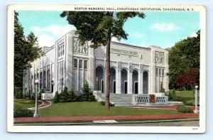 Postcard NY Chautauqua Norton Memorial Hall Chautauqua Institution I6