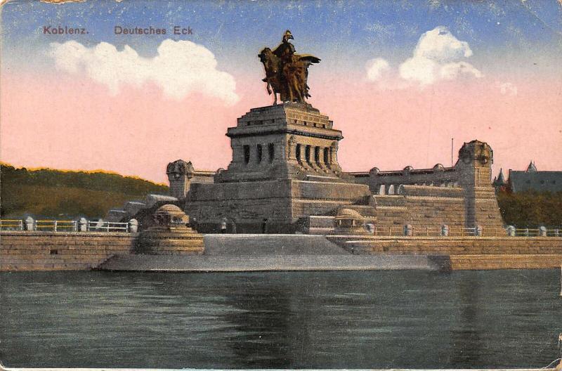 Koblenz Deutsches Eck Statue Monument Postcard