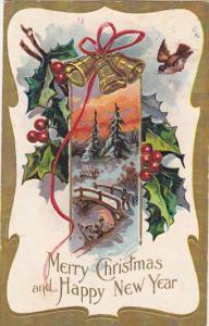 Christmas Landscape Scene and Gold Bells 1908