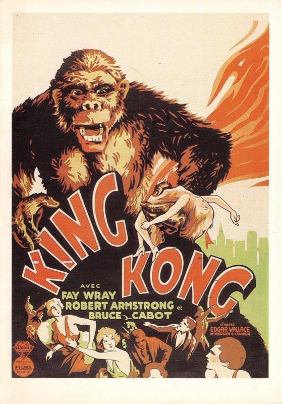 Postcard King Kong 1933 French Reproduction Film Advert Card #K