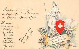 Switzerland Souvenir de la Suisse Patriotic Flag, Edelweiss, Embossed AK 1904