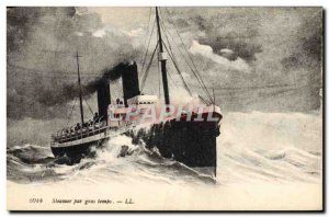 Old Postcard Boat Ship Steamer heavy weather
