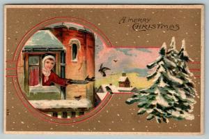 Victorian Christmas~Girl Feeds Birds From Parapet Window~Keyhole~Tan Back Emboss