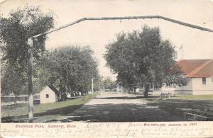 Saginaw Michigan~Riverside Park~Light Bulb Arches Over Drive~1908 Postcard