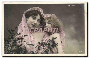 Old Postcard Fantaisie Mistletoe