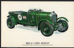 Classic Race Car Postcard 1928 41/2 Litre Bentley - Divided Back