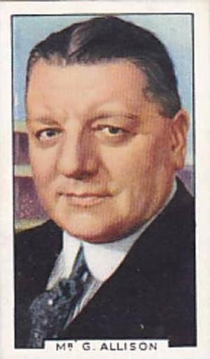 Gallaher Vintage Cigarette Card Sporting Personalities No 9 Mr G Allison  1936