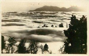 c1920 RPPC Postcard; Clouds, Fog in Waterman Canyon CA San Gabriel Valley