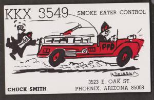 CB QSL Card - Firetruck - Chuck Smith Phoenix, Arizona