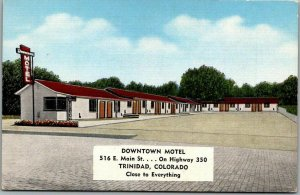 Trinidad, Colorado Postcard DOWNTOWN MOTEL Route 350 Roadside KROPP Linen 1940s
