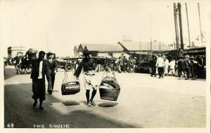 china, HONG KONG, Native Coolies, Harbour Scene (?) (1910s) RPPC Postcard