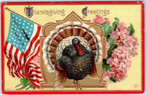 Vintage THANKSGIVING GREETINGS Postcard Turkey / Flowers / American Flag - 1910