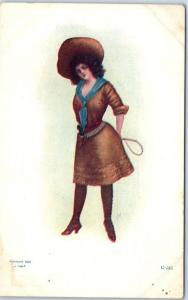 1900s COWGIRL Western Postcard Woman w/ Riding Whip Rifle Skirt Pistol J. TULLY