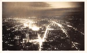 New York City~Aerial View from Empire State Building @ Night~1949 RPPC