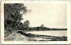 Vintage LITCHFIELD, Minnesota Postcard LAKE RIPLEY Road Scene 1910 Cancel