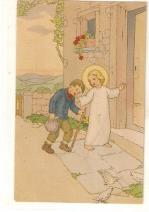 Infant Jesus helping a poor boy Lovely Spanish religious PC 1940s