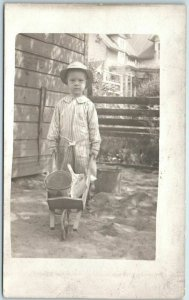 Vintage 1910s RPPC Photo Postcard Little Boy w/ Wheelbarrow & Gardening Tools