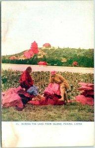 Vintage 1910s Beijing, CHINA Postcard Across the Lake from Island, PEKING