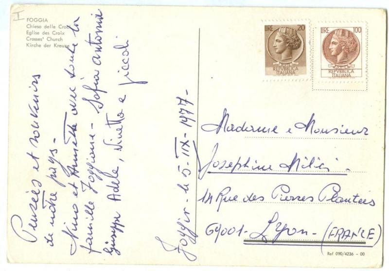 Italy, FOGGIA, Chiesa delle Croci, 1977 used Postcard