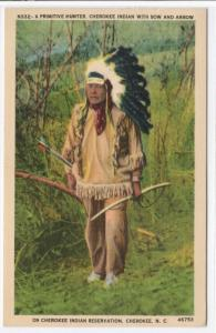 Cherokee Indian Bow and Arrow Native American North Carolina linen postcard