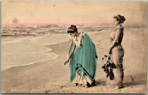 1900s Fantasy Postcard NEPTUNE'S CHARMS Ladies on Beach w/ Message