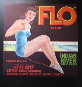 Brunette Pin Up in Bathing Suit Drinking Orange Juice, ADV: FLO Brand Indian ...