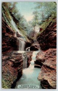 Watkins Glen New York~Rainbow Falls~Water Runs from Cliffs~1912 Postcard