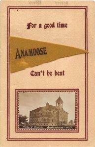 G38/ Anamoose North Dakota RPPC Felt Pennant Postcard c1910 School 26
