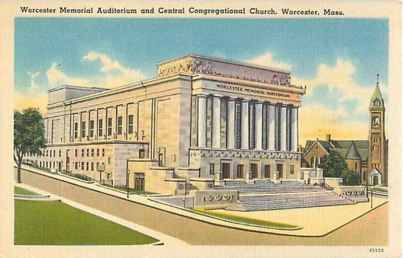 Worcester Memorial Auditorium & Congregational Church MA Lin