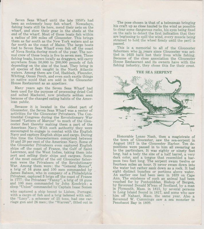 Gloucester House, Gloucester MA  Vintage Brochure, Sea Serpent Illustration