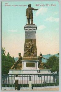 Salt Lake City Utah~Brigham Youngs Monument~1910 Postcard