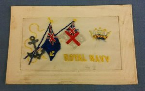 WW1 EMBROIDERED SILK POSTCARD ROYAL NAVY  D1