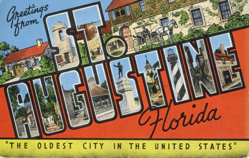 Greetings From St. Augustine Florida FL Large Letter Postcard E1