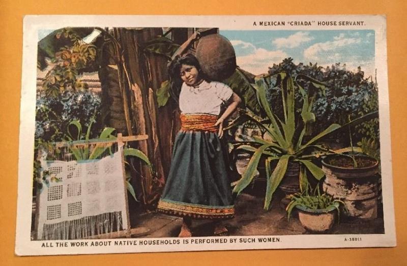 MEXICAN CRIADA HOUSE SERVANT ARIZONA MEXICO Vintage White Border Postcard AZ