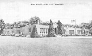 Long Beach Mississippi High School Street View Antique Postcard K34029