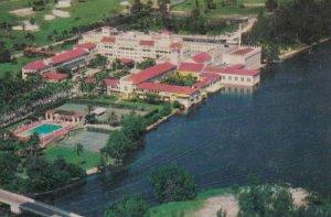BOCA RATON, Florida, 1940-60s; Airview of Boca Raton Hotel and Club, Lake Boc...
