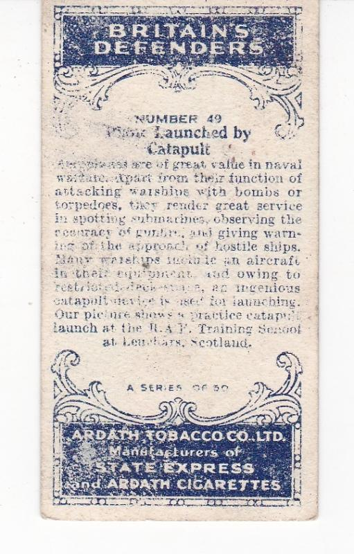 Cigarette Card Ardath BRITAIN'S DEFENDERS No 49 Plane Launched by Catapult