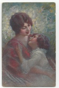 AS: Mother singing to her daughter, 1900-10s