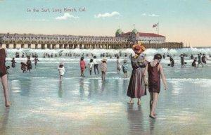 LONG BEACH , California, 1900-10s ; In the Surf