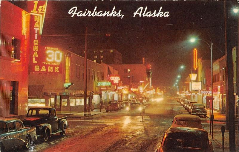 Fairbanks Alaska~Second Avenue @ Night~Storefronts~50s Cars & Truck~Postcard