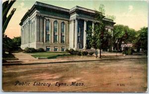 Lynn, Massachusetts Postcard Public Library Building / Street View c1910s