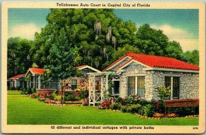 Vintage 1940s Florida Postcard TALLAHASSEE AUTO COURT Cottages View Linen Unused