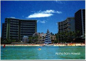 Hawaii Aloha Showing Waikiki Beach and Hotels