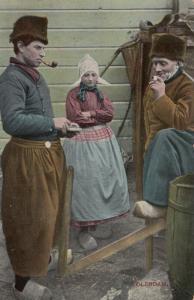 VOLENDAM, Noord-Holland, Netherlands, 1900-1910's; Men smoking pipes