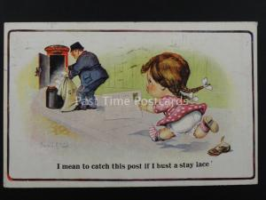Donald McGill Postman I MEAN TO CATCH THIS POST c1921 Postcard by Inter Art 2280